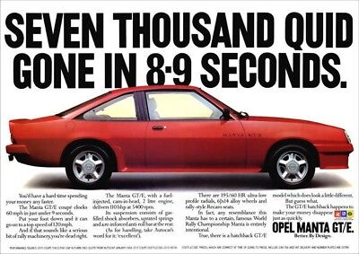 VAUXHALL OPEL MANTA GTE RED RETRO A3 POSTER PRINT FROM 80's ADVERT