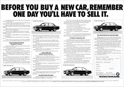 BMW E28 E30 E23 E24 3 5 6 & 7 SERIES RETRO A3 POSTER FROM ADVERT 1985