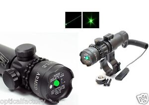 Tactical Green Laser Sight Rifle Dot Scope + Swith+Picatinny Rail+Barrel Mounts