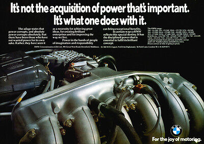 BMW CAR RANGE M30 SIX CYLINDER ENGINE RETRO A3 POSTER PRINT FROM 70's ADVERT