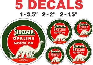 5 Vintage Style Dino Sinclair Motor Oil Gas Pump Oil Decals - Very Nice