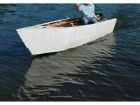 12 foot handbuilt wooden rowing boat and trailer