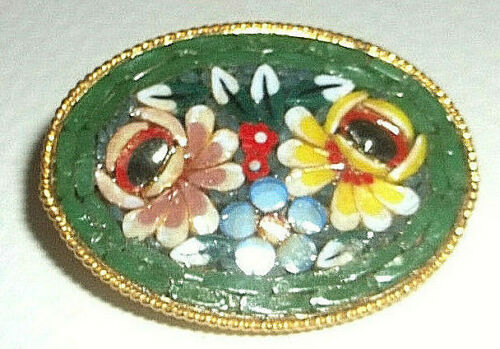 GREEN MILLE FIORE BROOCH/ PIN,gold plated FROM ITALY