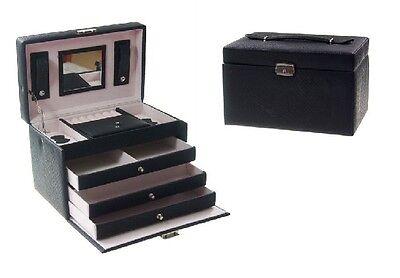 Schmuckkassette Schmuckkoffer Schmuckkasten Schwarz Ordnungssystem Koffer Ringe