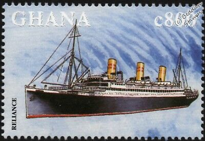 SS RELIANCE (Hamburg America Line) Ocean Liner Ship Stamp (1998 Ghana)