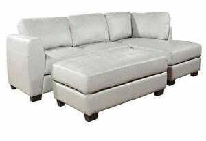 Leather air SOFA WITH OTTOMAN - In Grey or Black