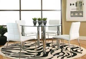 5pc Round Glass Top Dining Table + 4 Chai