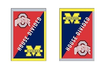 """Ohio State Buckeyes Michigan Wolverines House Divided 28""""x44"""" Vertical Flag New"""