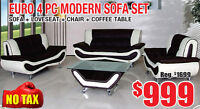 Euro 4pc Modern Sofa Set Now On Sale for $999 Tax Included!