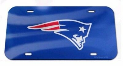 New England Patriots NFL Team Logo 6x12 Laser Cut Crystal Mirror License Plate  - New England Patriots Plates