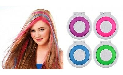 Hair Color Temporary (4 Color Round Pie Hair Chalk Temporary Coloring DIY Non Toxic Pastel Salon)