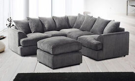 **14-DAY MONEY BACK GUARANTEE!!**Jamba Cord Fabric Corner Sofa Suite- SAME/NEXT DAY DELIVERY!