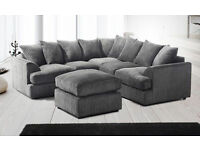 **7-DAY MONEY BACK GUARANTEE!!**Jamba Cord Fabric Corner Sofa Suite- SAME/NEXT DAY DELIVERY!