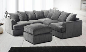 Brand New Liverpool Grey Dual-Padded Extra Thick Jumbo Fabric Corner Sofa
