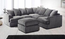 Brand New Stylish Liverpool Jumbo Cord Corner or 3+2 Seater Sofa Set Same\Next Day Delivery