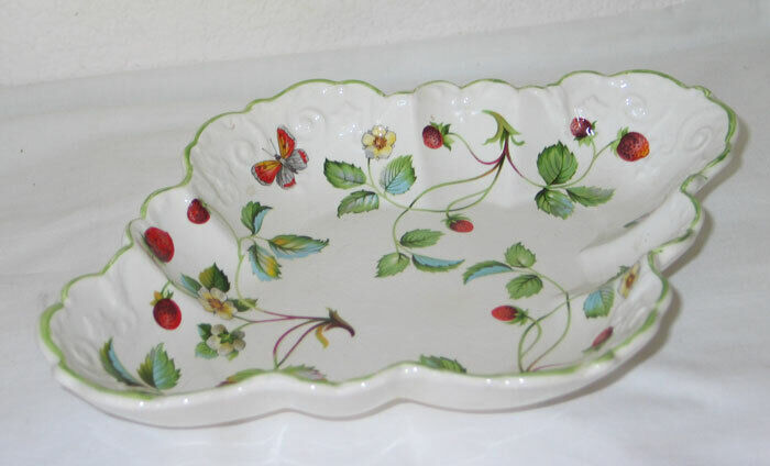 Vintage Old Foley James Kent Strawberry Pattern w Butterfly Relish Dish - Exc!