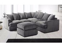 ▓▒░ SAME DAY DELIVERY ▓▒ Grey Dual-Padded Extra Thick Jumbo Fabric Corner Sofa