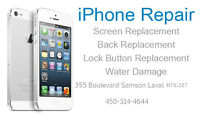 iphone 4g 4s 5C 5S samsung broken screen repair réparation laval