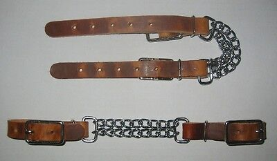 Rustic Oil Curb Strap Double 3 Chain Adjustable Leather Ends Horse Tack Usa