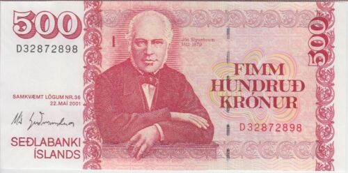 Iceland Banknote P58 500 Kronur 2001, UNC