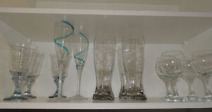 Set of glasswares includes  wine , flute and beer glasses