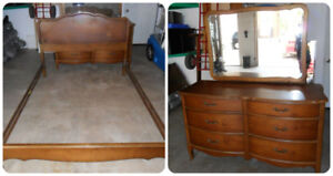 Solid Wood French Provincial Bow Front Dresser & Double Bed