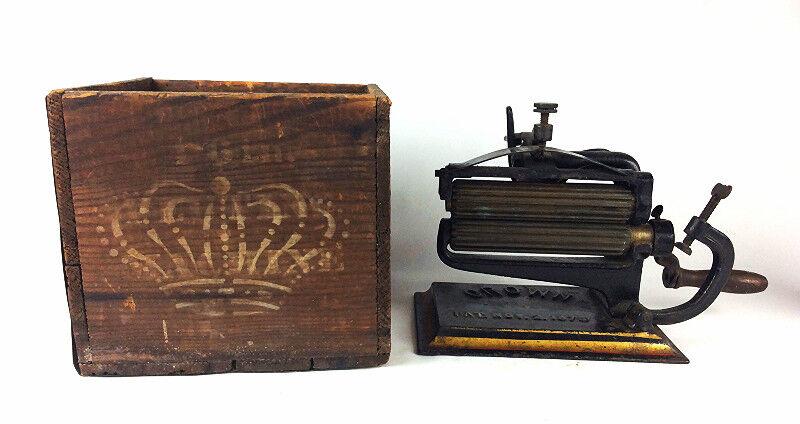 ANTIQUE Cast Iron 1875 Crown FLUTING pleater Crimper SAD IRON  w Original box