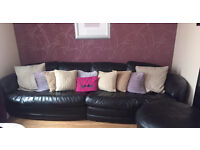 Italian Black Leather Sofa and Footstall