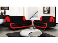 BRAND NEW CAROL SOFA PU LEATHER 3 +2 SEATER SOFA AVAILABLE IN RED AND BLACK OR WHITE & BLACK