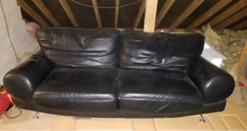 Leather Sofa black 3 seater 215cm wide
