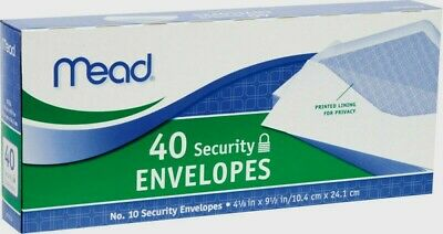 "Mead SECURITY ENVELOPES No. 10 White 9.5"" x 4.12"" Printed Privacy Lining 40 Pack"