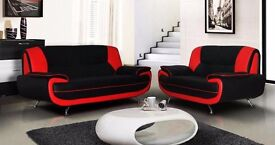 Faux Leather Carol Black and White Sofa 3 + 2 Seater Suite Available 3 & 2 seater