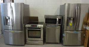 KITCHEN PACKAGE FRIDGE STOVE DISHWASHER STAINLESS STEEL WASHERS & DRYERS