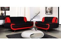 ZAP 50 % OFF ON SALE-----KAREEAWL WHITE AND BLACK 3+2 SEATER SUITE