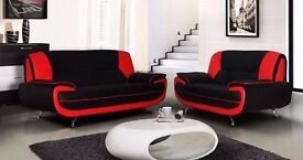 == EXCELLENT VALUE == NEW CAROL 3 AND 2 SEATER SOFA AVAILABLE IN BLACK WHITE RED AND CREAM COLOUR