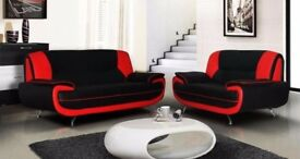 BRAND NEW ____ CAROL 3+2 SEATER LEATHER SOFA - IN BLACK RED WHITE AND BROWN COLOR
