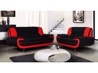 🚚🚛SAME DAY DELIVERY 🚚🚛Black Grey & Red Carol Faux Leather Sofa 3 + 2 Seater SALE