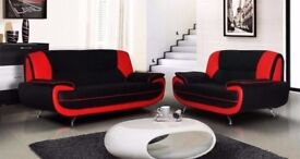 New Black Grey & Red Carol Faux Leather Sofa 3 + 2 Seater SALE Extra Padded BEST PRICE GUARANTEED