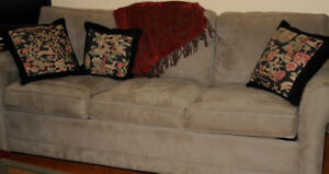 Plush microfiber sofa with foldaway queen size bed