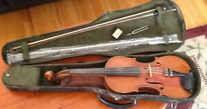 FIDDLE, new BOW, hard CASE, old bow, Rosin, tuning fork,shoulde