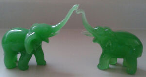 Green Glass Elephants