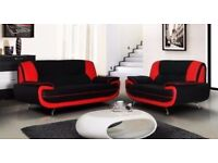 NEW PALERMO RED BLACK CAROL FAUX LEATHER 3 + 2 SEATER SOFA SET AT VERY CHEAP PRICE