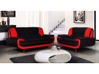 NEW BRAND NEW CAROL FAUX LEATHER 3 +2 SEATER SOFA ! RED AND BLACK OR WHITE & BLACK