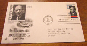1965 Adlai Stevenson in Memoriam 5 Cent First Day Cover Kitchener / Waterloo Kitchener Area image 2