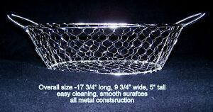Sparkling metal wire mesh, attractive  large basket, bread-fruit