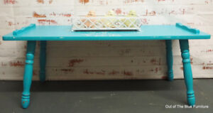 Boho chic turquoise coffee table