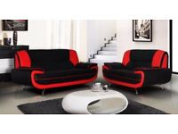 50 % OFF BRAND NEW CAROL 3+2 SEATER LEATHER SOFA- IN BLACK RED WHITE AND BROWN COLOR