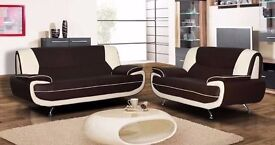 BRAND NEW KAROL LEATHER 3 & 2 SEATER SOFA WHITE & RED & BLACK & BROWN