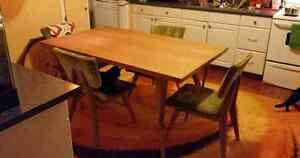 Mid century modern (teak?) Dining table and 4 chairs