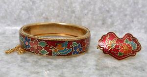 Vintage (70's) cloisonne enamel hinged bracelet and scarf ring